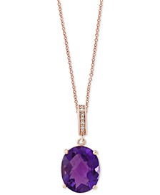 EFFY® Amethyst (4-3/8 ct. t.w.) & Diamond Accent Pendant Necklace in 14k Rose Gold