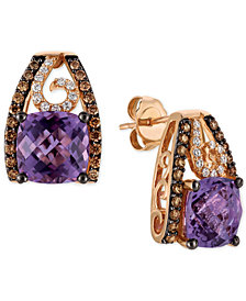 Le Vian Chocolatier® Grape Amethyst™ (4 ct. t.w.) and Diamond (1/2 ct. t.w.) Stud Earrings in 14k Rose Gold