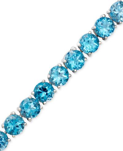 Sterling Silver Blue Topaz Link Bracelet (20-22-5/8 ct. t.w.)