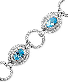 Sterling Silver Blue Topaz (4-3/4 - 5-1/8 ct. t.w.) and Diamond Accent Bracelet