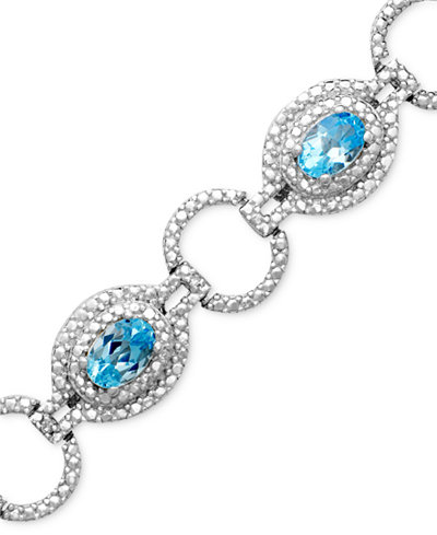 Sterling Silver Bracelet, Blue Topaz (4-3/4 ct. t.w.) and Diamond Accent