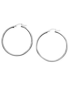 Large Sterling Silver Tube Hoops, 1.75""