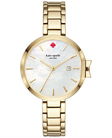 kate spade new york Women's Park Row Gold-Tone Stainless Steel Bracelet Watch 34mm KSW1266