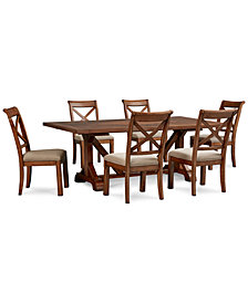 Mandara Rectangle Furniture, 7-Pc. Set (Dining Trestle Table & 6 X-Back Side Chairs)