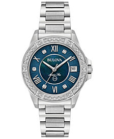 Bulova Women's Diamond Accent Marine Star Stainless Steel Bracelet Watch 32mm 96R215