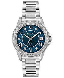 Bulova Women's Diamond Accent Marine Star Stainless Steel Bracelet Watch 32mm 96R215