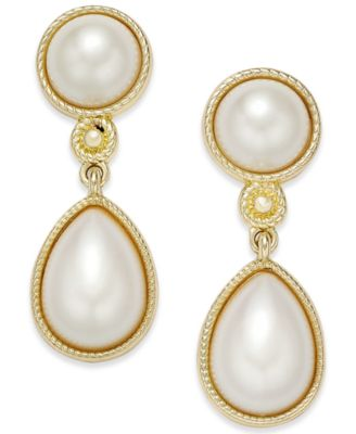 Image of Charter Club Gold-Tone Imitation Pearl Drop Earrings, Only at Macy's