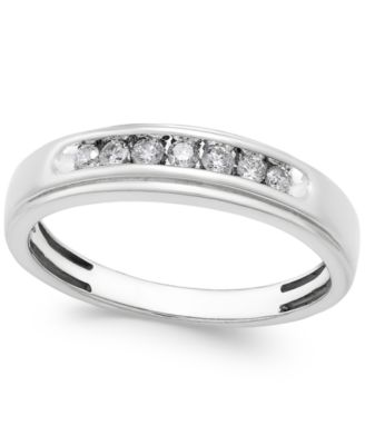 Men's Diamond Band (1/4 ct. t.w.) in 10k White Gold
