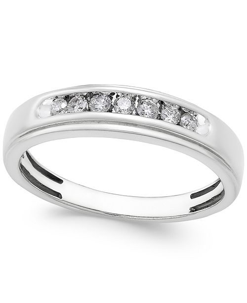 Macy's Men's Diamond Band (1/4 ct. t.w.) in 10k White Gold