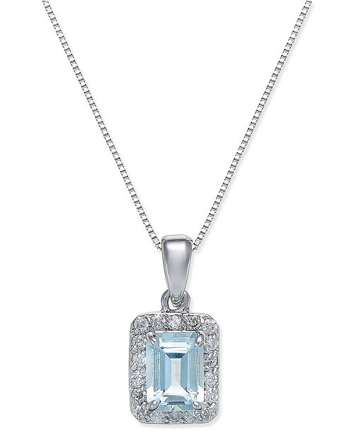 Macy's Aquamarine (1 ct. t.w.) and Diamond (1/5 ct. t.w.) Pendant Necklace in 14k White Gold