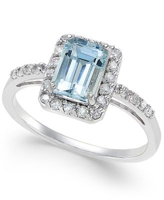 Aquamarine (1 ct. t.w.) and Diamond (1/4 ct. t.w.) Ring in 14k White Gold