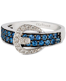 Le Vian® Cornflower Ceylon Sapphire™ (5/8 ct. t.w.) & Diamond Accent Belt Buckle Ring in 14k White Gold