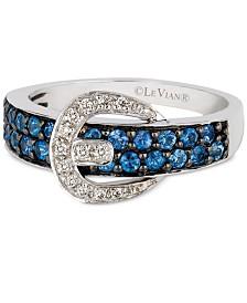 Le Vian® Cornflower Ceylon Sapphire™ (5/8 ct. t.w.) & Diamond Accent Belt Buckle Ring in 14k White Gold