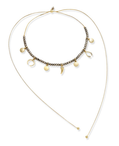 Inc international concepts gold tone beaded charm choker for Macy s jewelry clearance