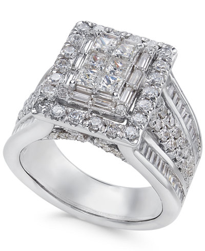 Diamond Square Cluster Ring (2-1/2 ct. t.w.) in 14k White Gold