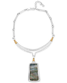 Robert Lee Morris Soho Two-Tone Sculptural Stone Pendant Necklace