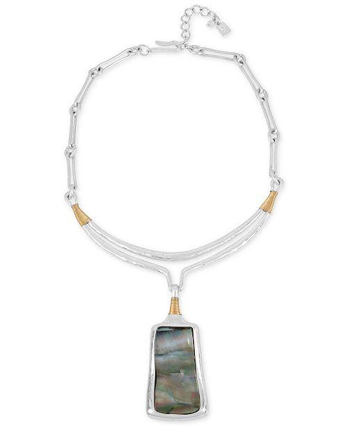 Robert Lee Morris Soho Two-Tone Sculptural Stone Pendant Necklace