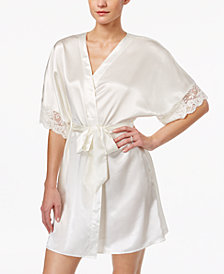Flora by Flora Nikrooz Emma Lace-Trimmed Charmeuse Wrap Robe