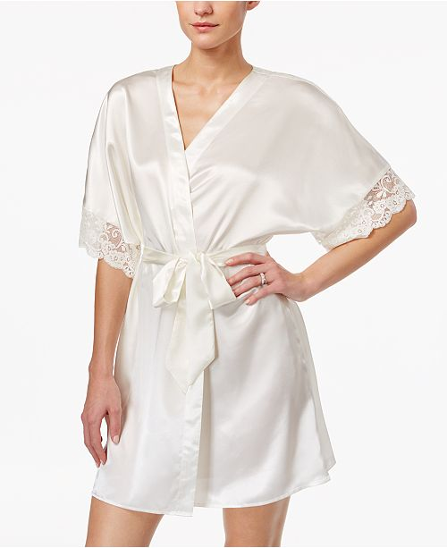 99e049f12e5 ... Flora by Flora Nikrooz Emma Lace-Trimmed Charmeuse Wrap Robe ...