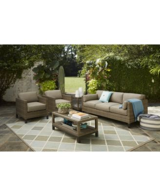 Furniture North Port Wicker Outdoor Sofa With Sunbrella® Cushions, Created  For Macyu0027s   Furniture   Macyu0027s