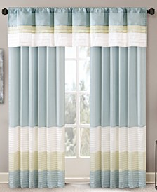 Carter Colorblocked Pintuck Window Panel and Valance Collection