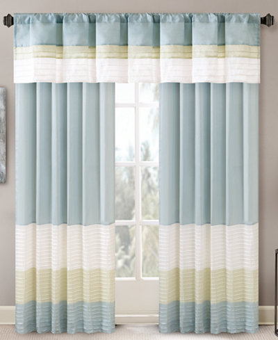 Madison Park Carter Colorblocked Pintuck Window Panel and Valance Collection