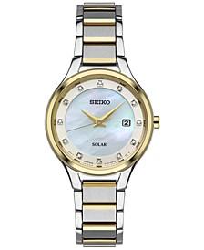Women's Solar Dress Diamond Accent Two-Tone Stainless Steel Bracelet Watch 29mm SUT318