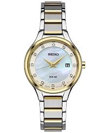 Seiko Women's Solar Dress Diamond Accent Two-Tone Stainless Steel Bracelet Watch 29mm SUT318