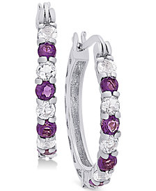 Small Amethyst (3/4 ct. t.w.) and White Topaz (1 ct. t.w.) Hoop Earrings in Sterling Silver