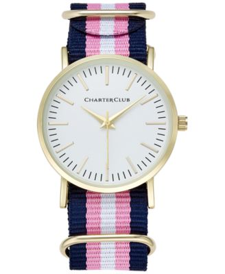 Image of Charter Club Women's Pink, Navy & White Strap Watch 36mm, Only at Macy's