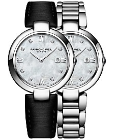 RAYMOND WEIL Women's Swiss Shine Diamond Accent Stainless Steel Bracelet Watch with Interchangeable Black Satin Strap 32mm 1600-ST-00995