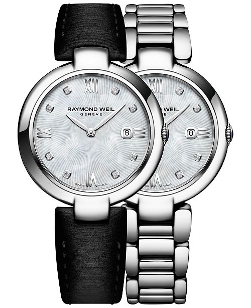 Raymond Weil Women's Swiss Shine Diamond Accent Stainless Steel Bracelet Watch with Interchangeable Black Satin Strap 32mm 1600-ST-00995