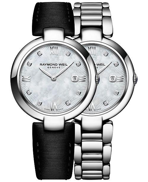 6cbff4cf1 ... Raymond Weil Women's Swiss Shine Diamond Accent Stainless Steel  Bracelet Watch with Interchangeable Black Satin Strap ...