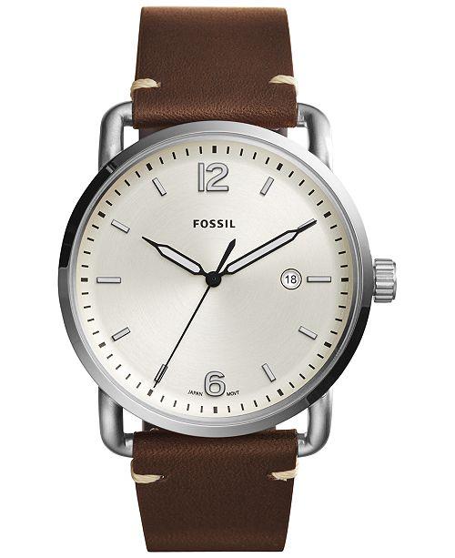 45e38b959d ... Fossil Men s Commuter Dark Brown Leather Strap Watch 42mm FS5275 ...