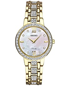 Women's Solar Dress Swarovski Crystal Gold-Tone Stainless Steel Bracelet Watch 28mm SUP364
