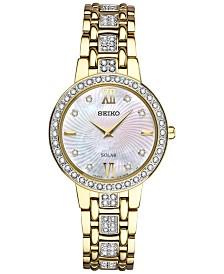 Seiko Women's Solar Dress Swarovski Crystal Gold-Tone Stainless Steel Bracelet Watch 28mm SUP364