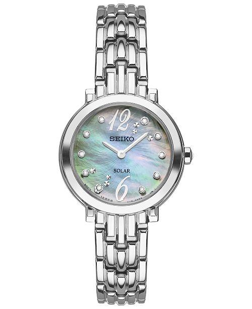 Seiko Women's Solar Tressia Diamond Accent Stainless Steel Bracelet Watch 23mm SUP353