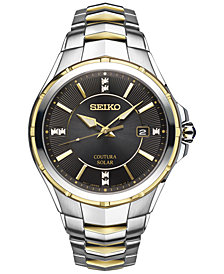 Seiko Men's Solar Coutura Diamond Accent Two-Tone Stainless Steel Bracelet Watch 42mm SNE444