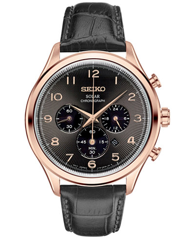 Seiko Men's Solar Chronograph Classic Black Leather Strap Watch 42mm SSC566