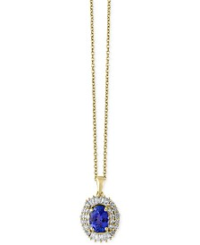 Tanzantie Royalé by EFFY® Tanzanite (1-1/8 ct. t.w.) and Diamond (1/2 ct. t.w.) Pendant Necklace in 14k Gold