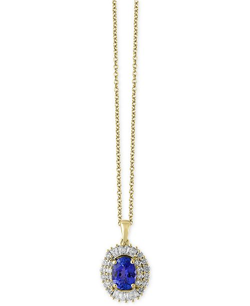 EFFY Collection Tanzantie Royalé by EFFY® Tanzanite (1-1/8 ct. t.w.) and Diamond (1/2 ct. t.w.) Pendant Necklace in 14k Gold