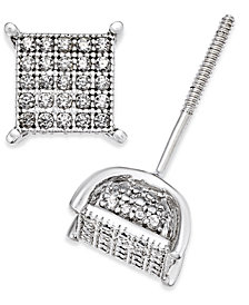 Men's Diamond Square Cluster Stud Earrings (1/4 ct. t.w.) in Sterling Silver