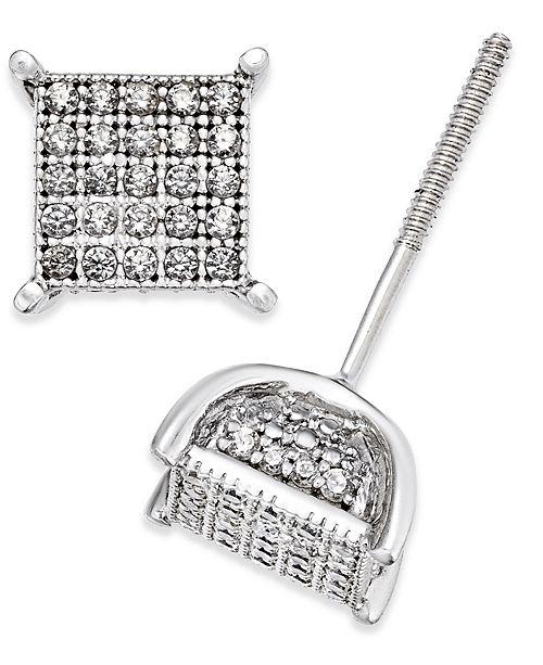 Macy's Men's Diamond Square Cluster Stud Earrings (1/4 ct. t.w.) in Sterling Silver