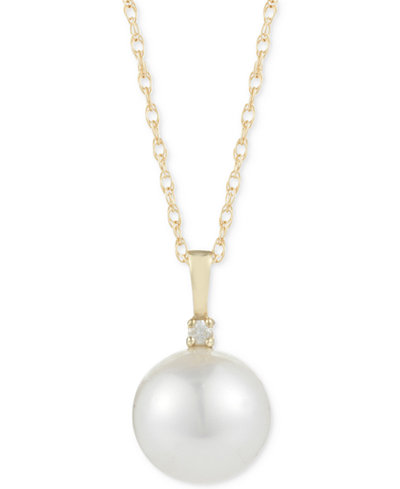 Cultured South Sea Pearl (10mm) and Diamond Accent Pendant Necklace in 14k Gold