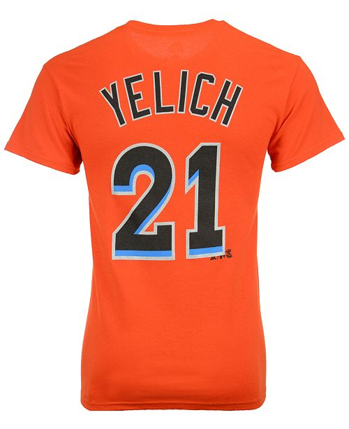 8e9fbf41 Majestic Men's Christian Yelich Miami Marlins Official Player T-Shirt ...
