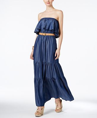 MICHAEL Michael Kors Strapless Maxi Dress, a Macy's Exclusive ...