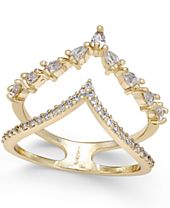INC International Concepts Gold-Tone Crystal and Pavé Double V Ring, Created for Macy's