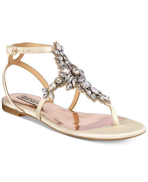 Badgley Mischka Cara Embellished Flat Evening Sandals Women's Shoes xFDV9Ccn