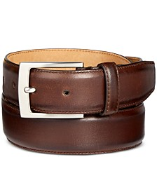 Tasso Elba Men's Feather-Edge Leather Dress Belt, Created for Macy's