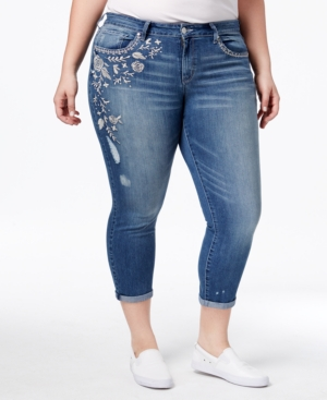 Jessica Simpson Trendy Plus Size Moss Wash Embroidered Skinn